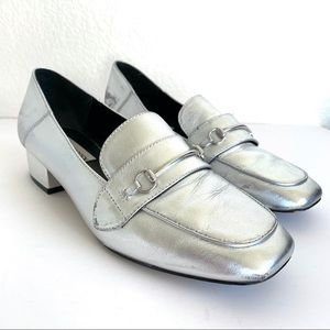 Steve Madden Silver Metallic Leather Penny Loafers